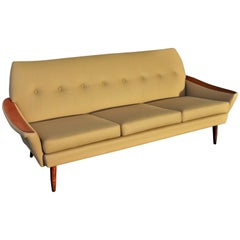 Teak Arm Restored Button-Tufted Sofa in Camel Felted Wool