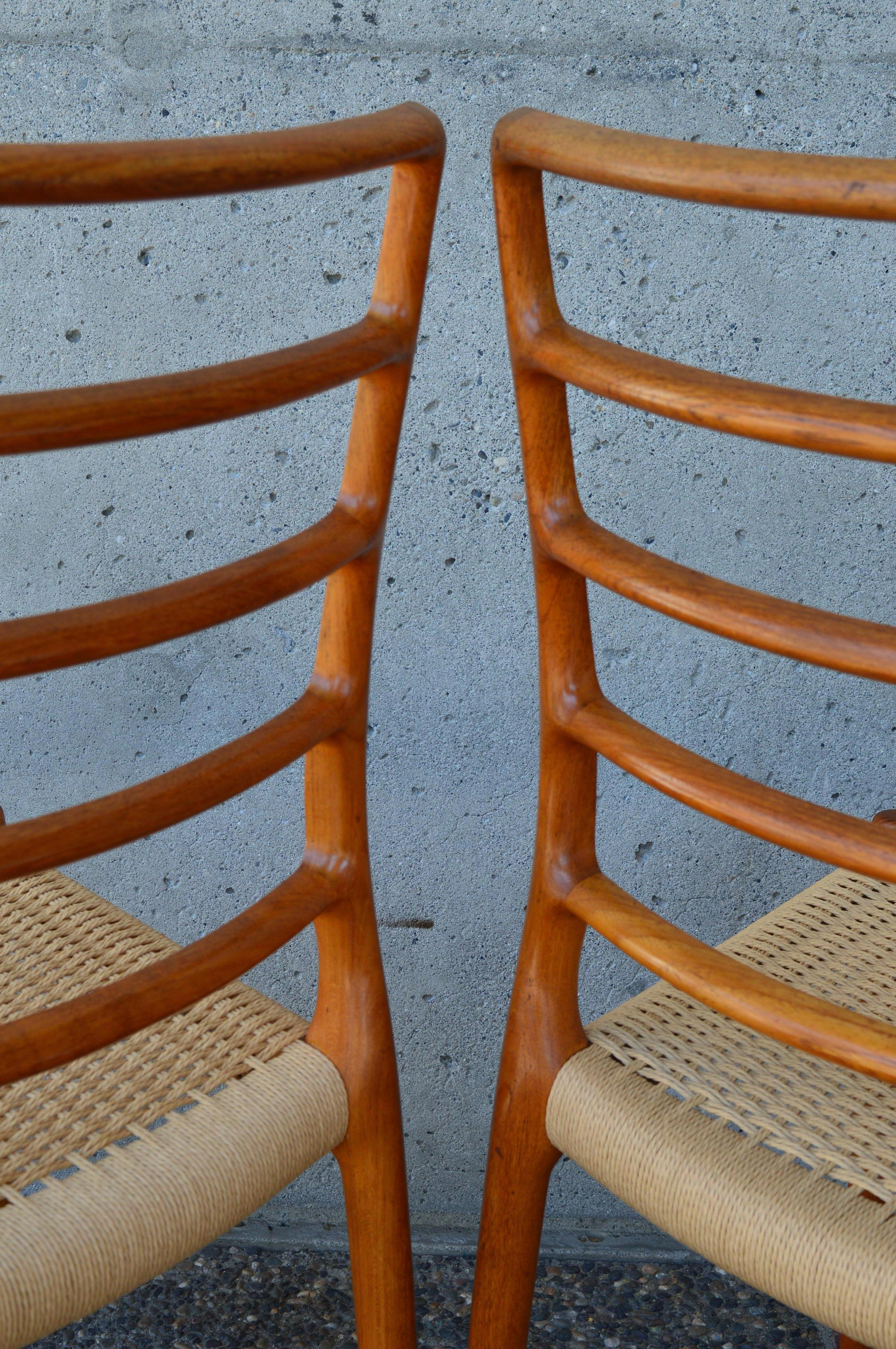Set of Six Teak Ladder Back NO Moller Dining Chairs Model 82, Newly ...
