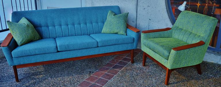 Restored Danish Teak Arm Sofa And Lounge Chair With
