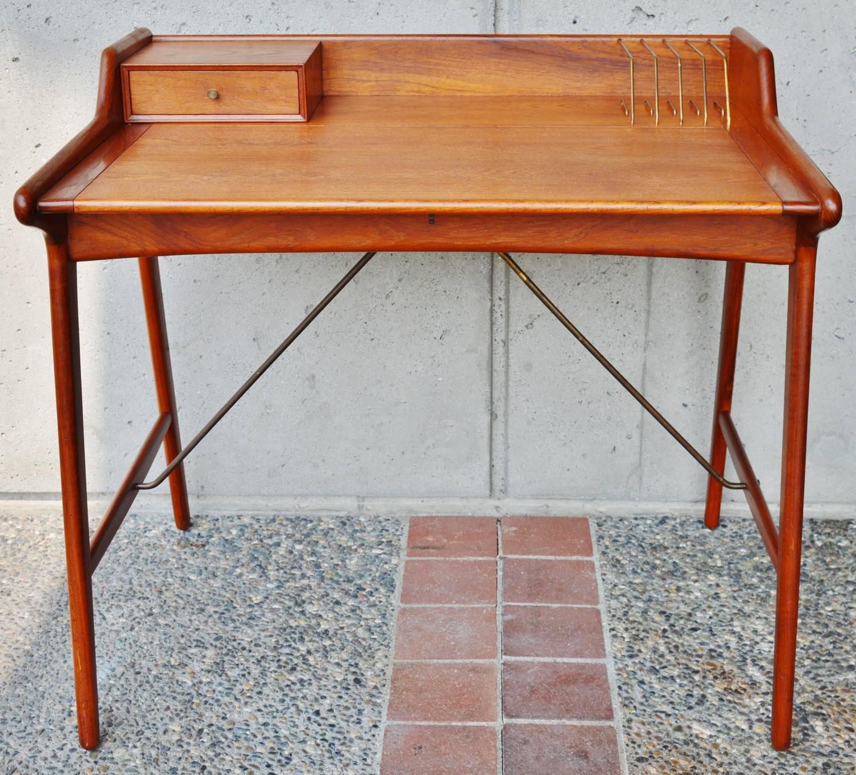 Stunning minimalist svend madsen danish modern teak desk at 1stdibs - Teak office desk ...