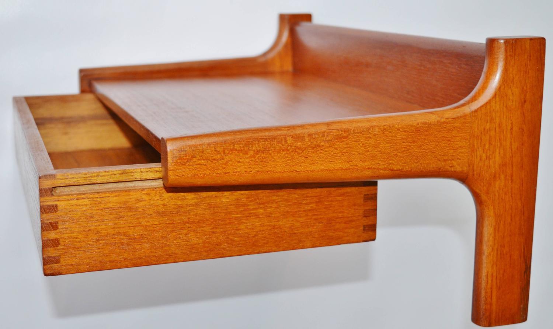 pair danish teak floating shelves with drawers at 1stdibs. Black Bedroom Furniture Sets. Home Design Ideas