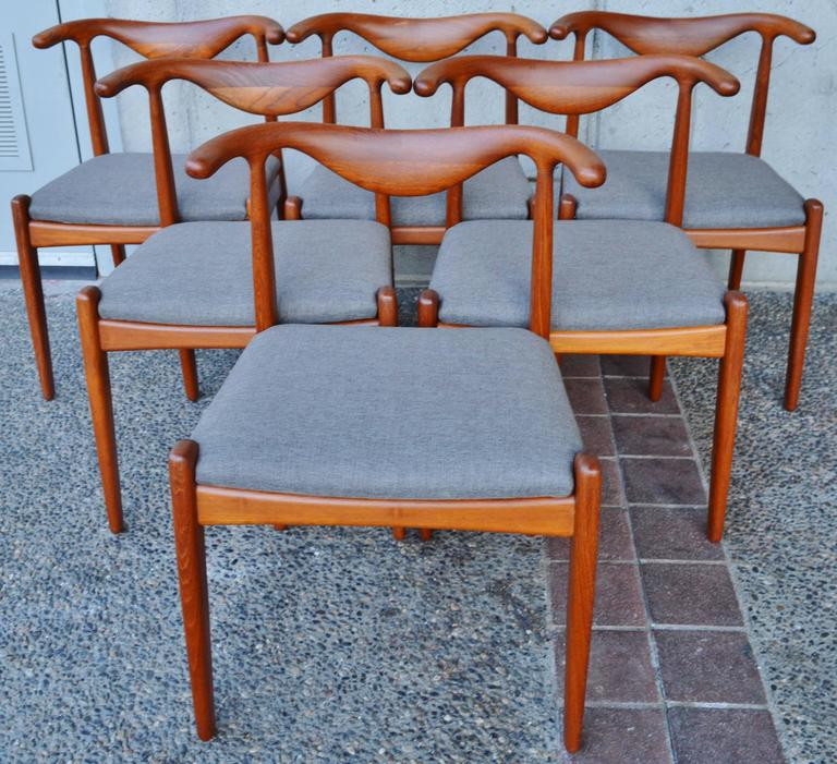 Svend Madsen Teak Cow-Horn Dining Chairs, Set of Six 4