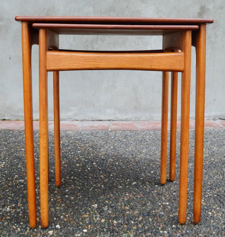 Mid Century Modern Pair Of Svend Madsen Teak And Oak Nesting Tables For Sale