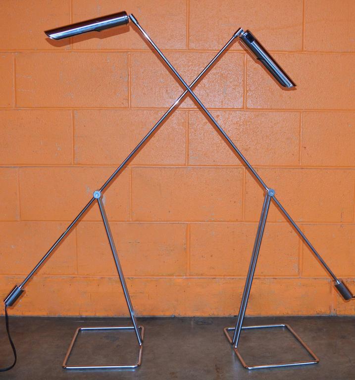 Mid-Century Modern Pair of Abo Randers Chrome Floor Lamps For Sale