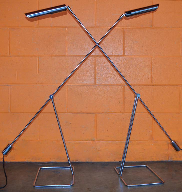Danish Pair of Abo Randers Chrome Floor Lamps For Sale