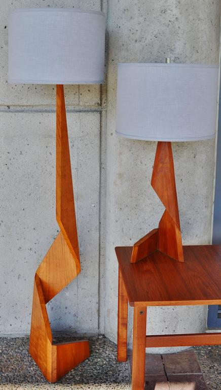 Danish Teak Zig Zag Floor And Table Lamps For Sale At 1stdibs