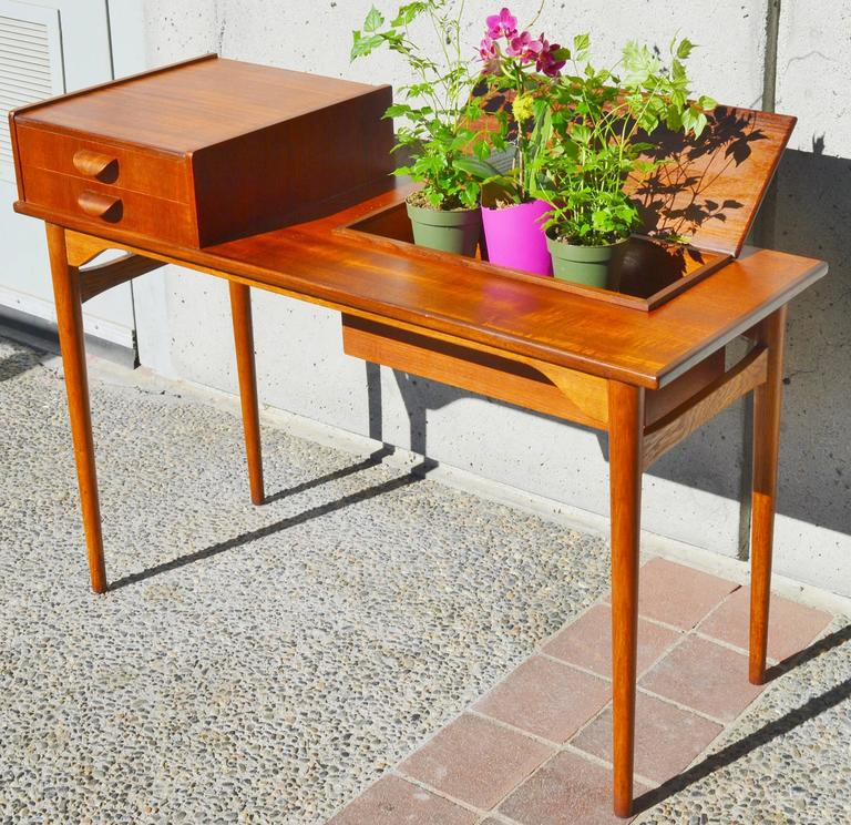 Marvelous Danish Teak And Oak Sofa Or Hall Table With Lift Top Storage Gmtry Best Dining Table And Chair Ideas Images Gmtryco