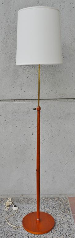 Teak and Brass Telescoping Floor Lamp, Danish Modern In Excellent Condition For Sale In New Westminster, British Columbia