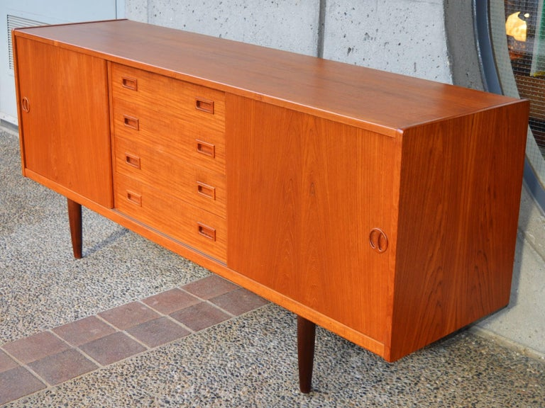Mid-20th Century Teak Credenza or Buffet with Centre Drawers and Finished Back, Scandinavian For Sale