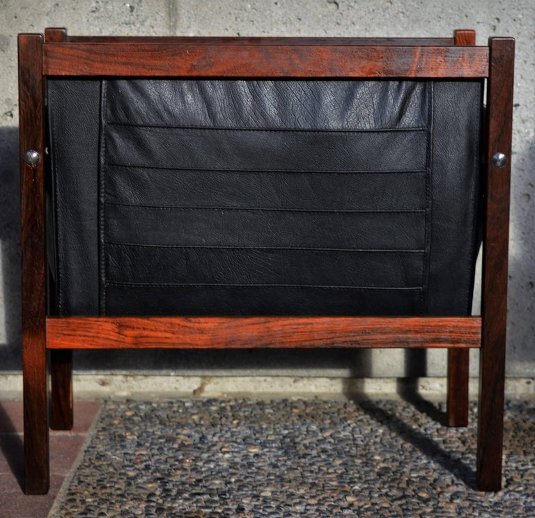 Danish Modern Rosewood and Black Leather Magazine Rack For Sale 3
