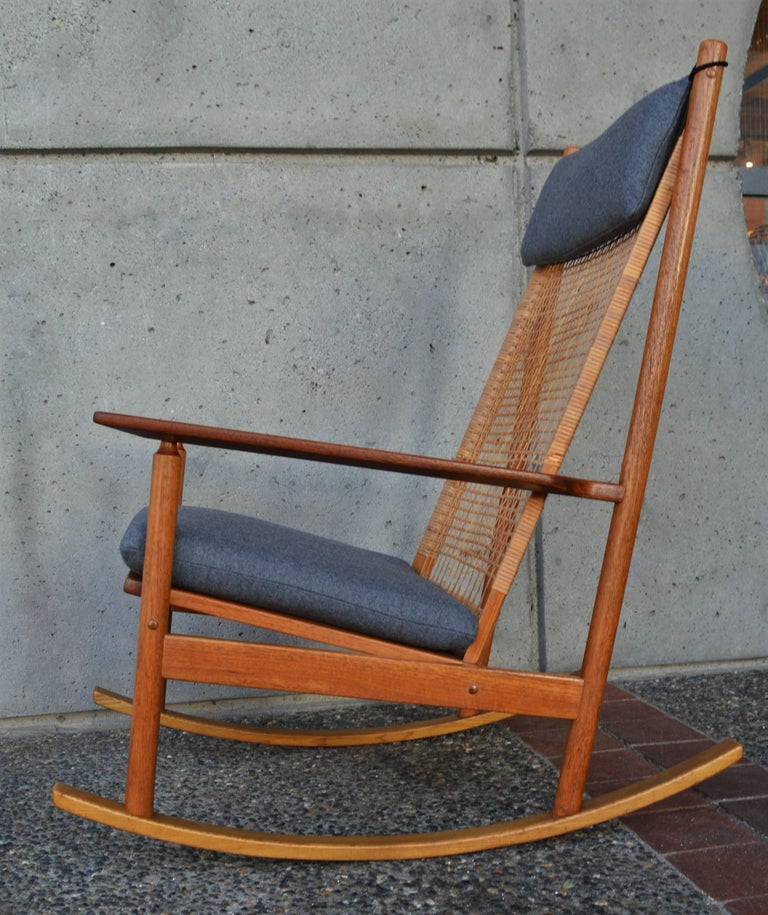 Awesome Hans Olsen For Juul Kristensen Teak Rocking Chair Cane Back Gmtry Best Dining Table And Chair Ideas Images Gmtryco