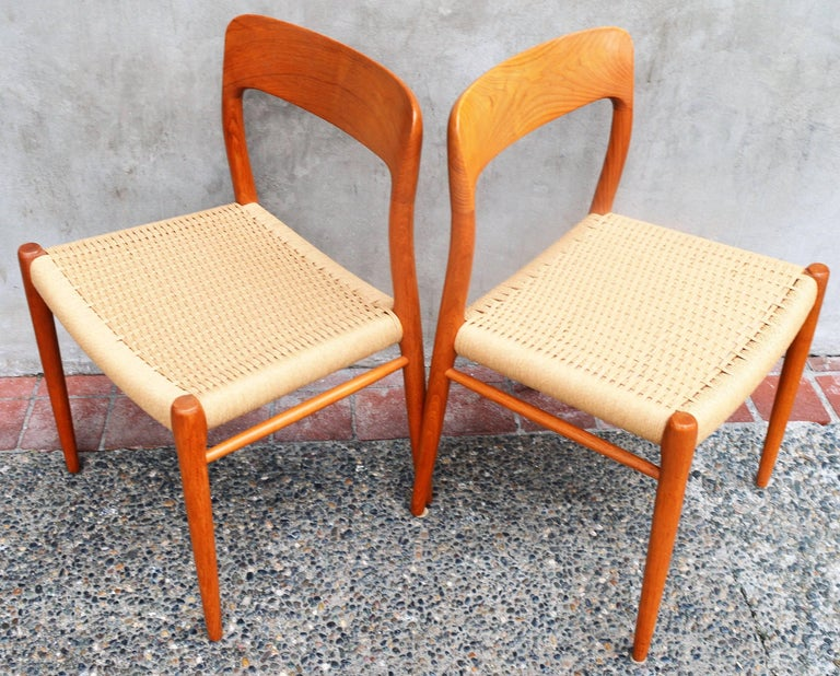 Papercord Set of Four Danish Teak Dining Chairs by N.O. Moller for J.L. Moller For Sale