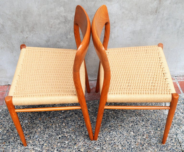 Set of Four Danish Teak Dining Chairs by N.O. Moller for J.L. Moller For Sale 2