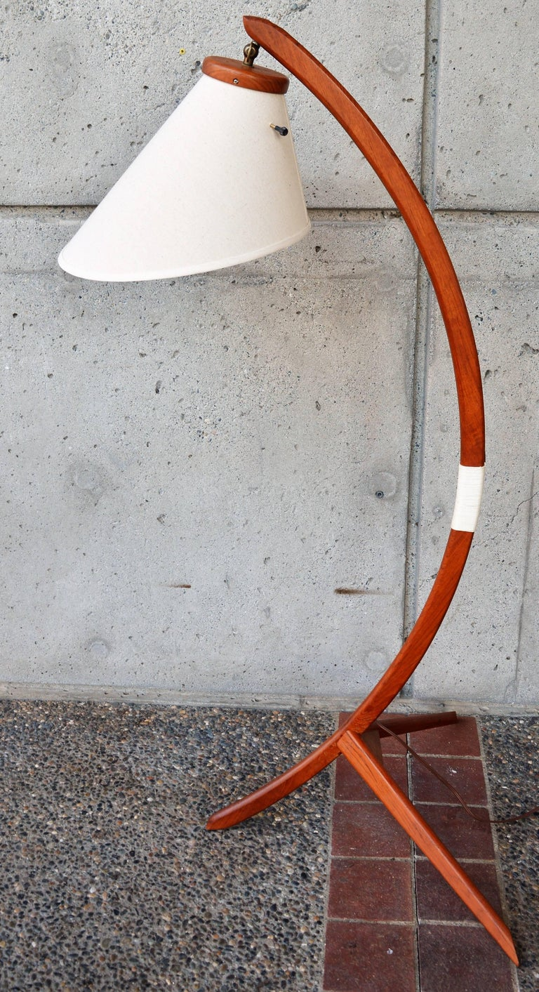Scandinavian Danish Teak Arc or Bow Tripod Floor Lamp with New Bonnet Shade, Rispal Style For Sale