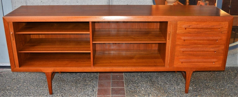 1950s Danish Teak Tambour Credenza by Ib Kofod-Larsen with Finished Back For Sale 3