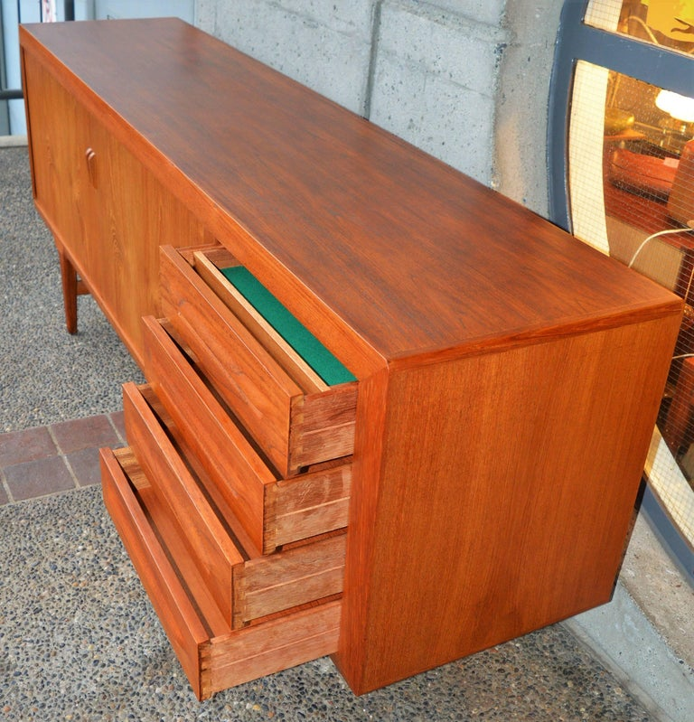 1950s Danish Teak Tambour Credenza by Ib Kofod-Larsen with Finished Back For Sale 2