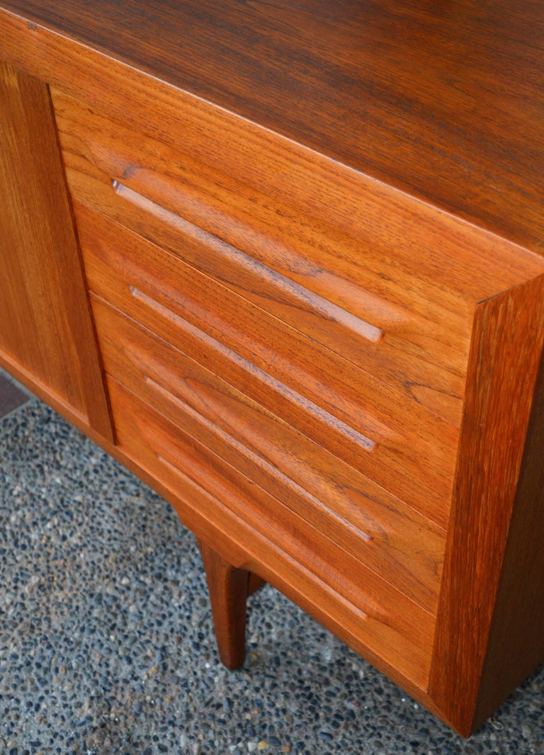 1950s Danish Teak Tambour Credenza by Ib Kofod-Larsen with Finished Back For Sale 1