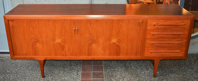 1950s Danish Teak Tambour Credenza by Ib Kofod-Larsen with Finished Back For Sale 4