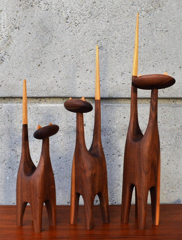 Mid-Century Modern Large-Scale Mid-Century Inspired Hand-Carved Walnut & Beech Family of Three Cats For Sale