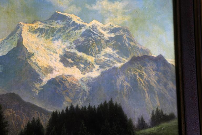 Framed Snowy Mountain Oil Painting Dated 1930, Unattributed For Sale ...