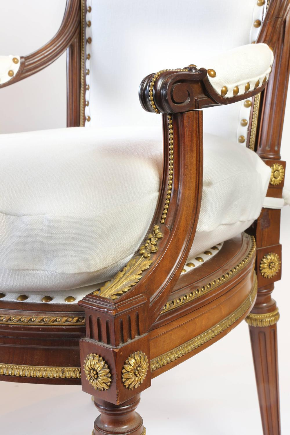 pair of louis xvi style chaise a la reine armchairs at. Black Bedroom Furniture Sets. Home Design Ideas