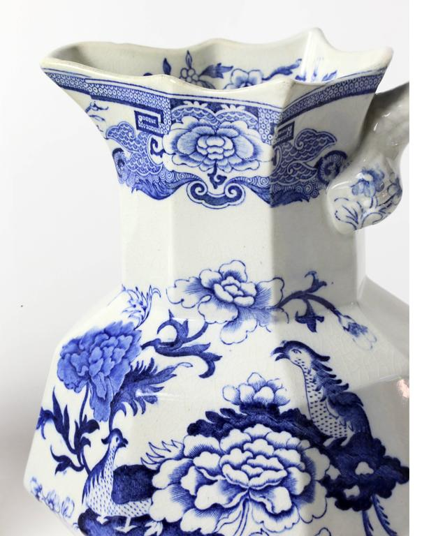 English Mason Ironstone Blue Pheasant Ewers For Sale