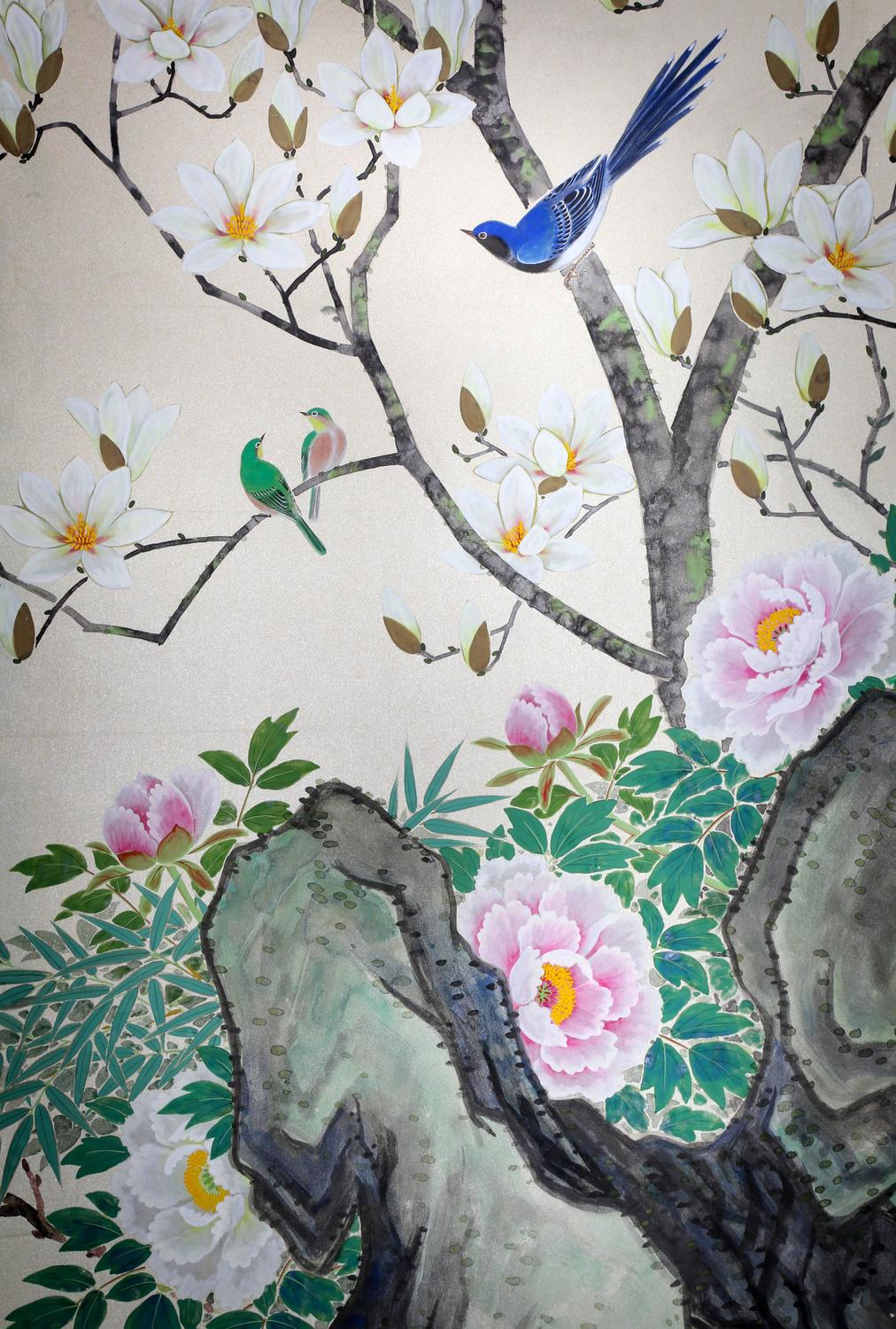 Four framed hand painted chinese wallpaper panels for sale for Wallpaper sheets for sale