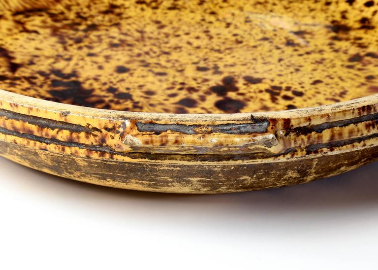 Antique French Glazed Terracotta Cheese Bowl In Good Condition For Sale In Austin, TX