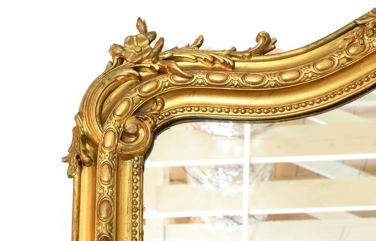 French Large Louis XV Style Giltwood Wall Mirror, 19th Century For Sale