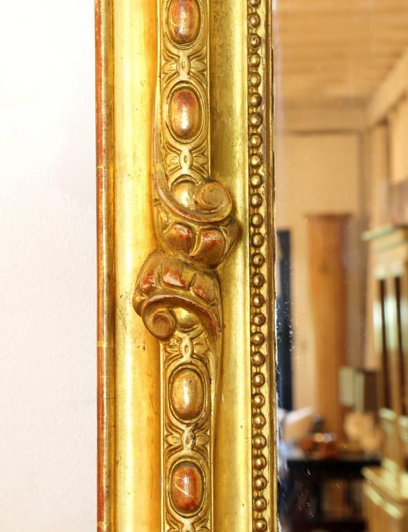 Carved Large Louis XV Style Giltwood Wall Mirror, 19th Century For Sale