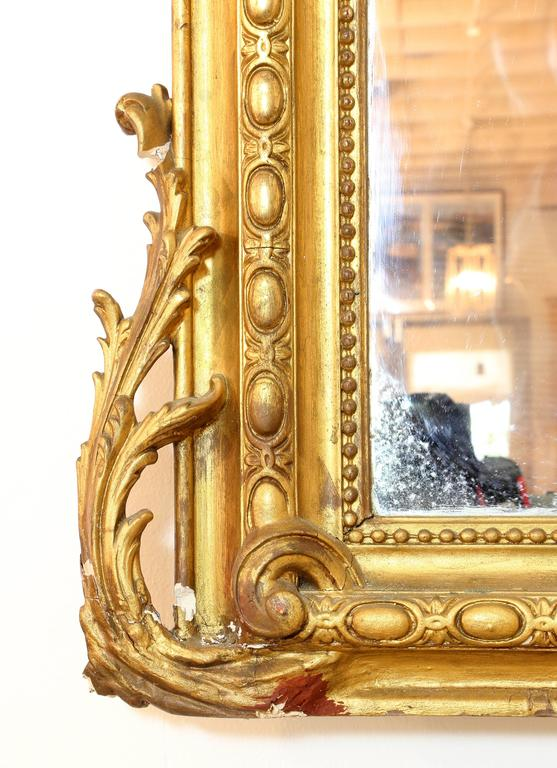 Large Louis XV Style Giltwood Wall Mirror, 19th Century In Good Condition For Sale In Austin, TX