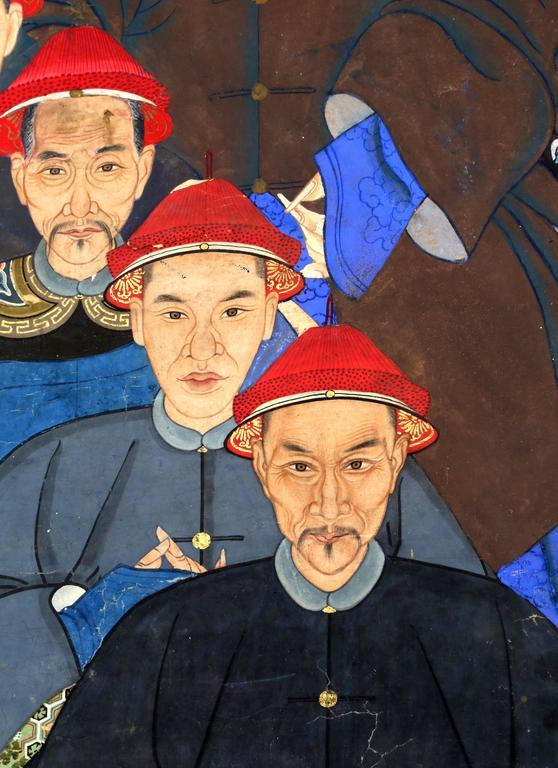 Large Qing Dynasty Generational Ancestor Portrait At 1stdibs