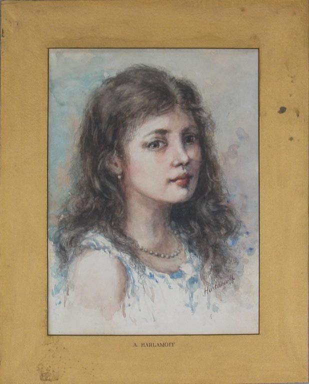 """Watercolor in the manner of Alexei Alexeievitch Harlamoff """"Russian, 1842-1915"""" portrait of a young girl, signed Harlamoff on the lower right, Marked A. Harlamoff on the gold matting. A watercolor done on paper. The painting measures"""
