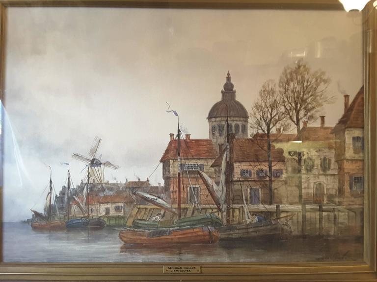 J. Van Couver, Watercolor, Dutch Harbor Scene In Good Condition For Sale In Ottawa, Ontario