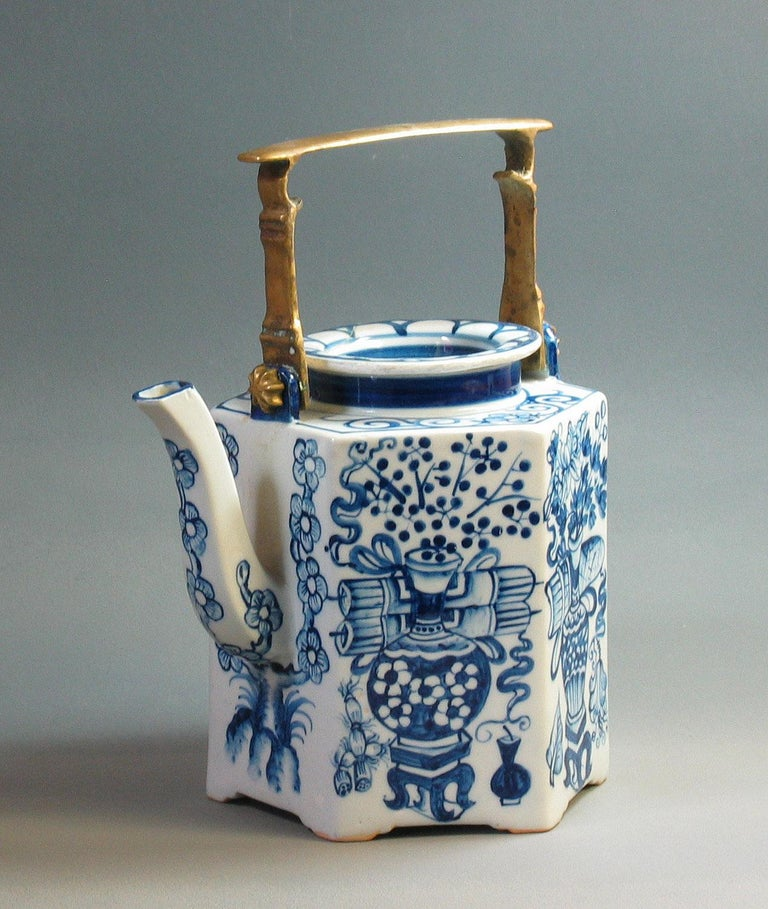 Hand-Crafted Charming Chinese Export Hexagonal Blue & White Teapot with Brass Handle & Tray For Sale