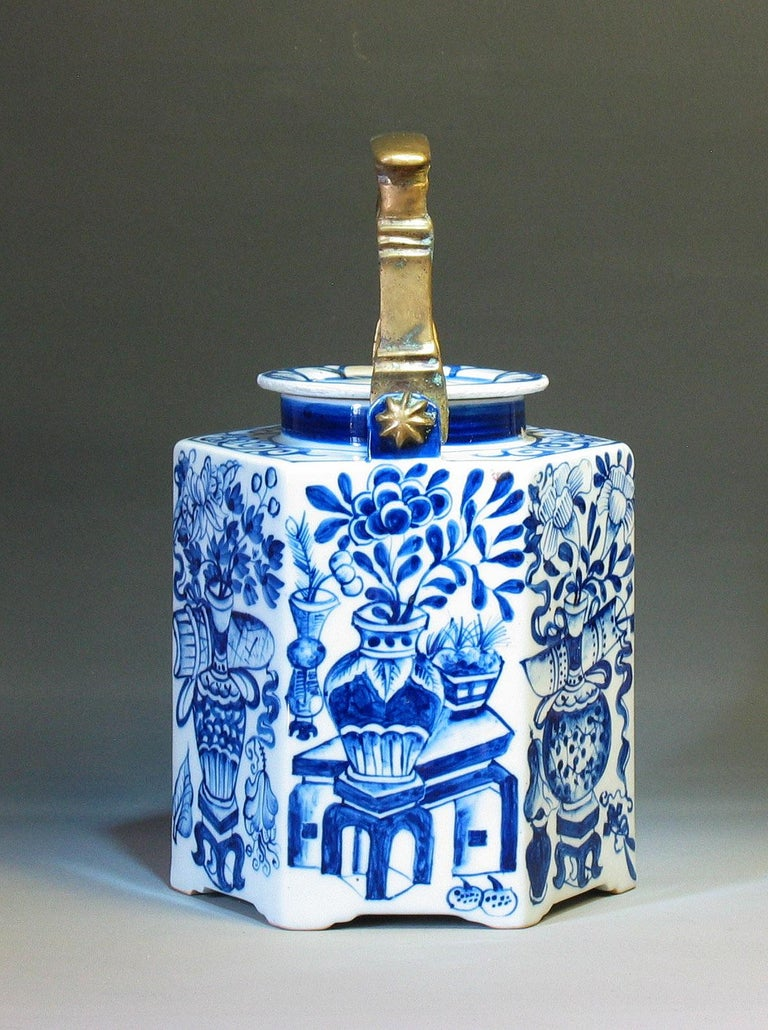 19th Century Charming Chinese Export Hexagonal Blue & White Teapot with Brass Handle & Tray For Sale
