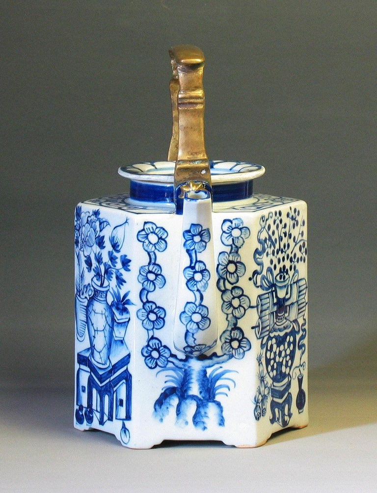 Porcelain Charming Chinese Export Hexagonal Blue & White Teapot with Brass Handle & Tray For Sale