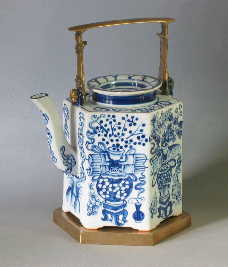 Charming Chinese Export Hexagonal Blue & White Teapot with Brass Handle & Tray For Sale 6