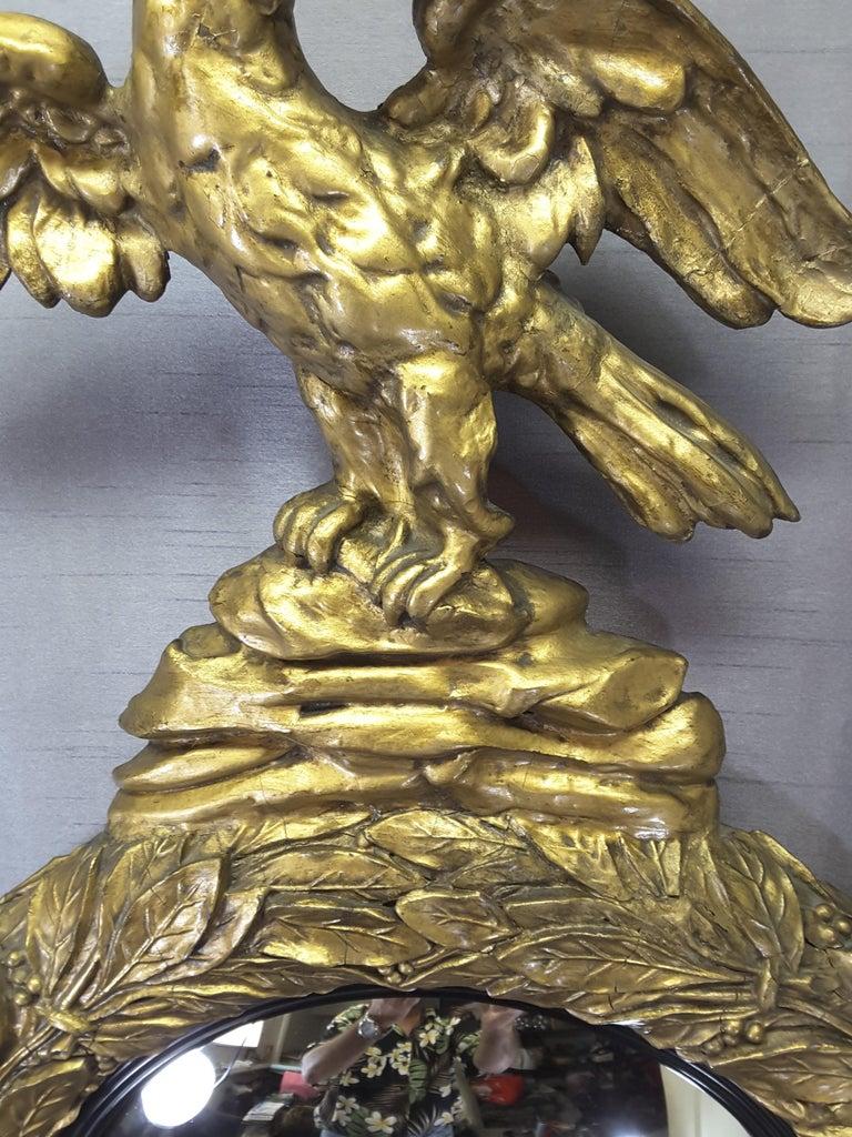 English Regency Eagle Gilt Convex Bullseye Mirror For Sale 2