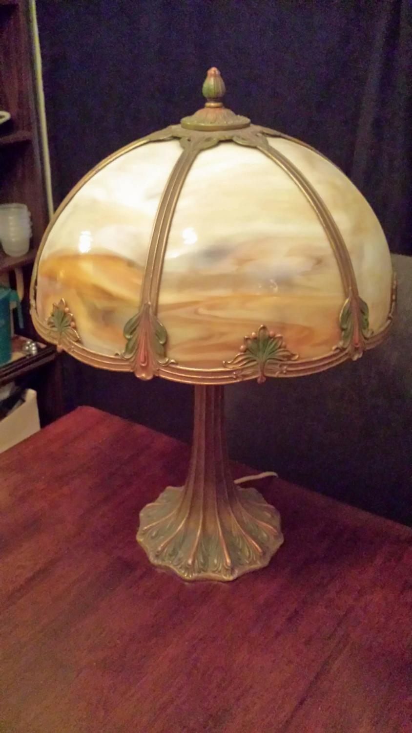 slag glass table lamp carmel colored glass with a decorated shade and. Black Bedroom Furniture Sets. Home Design Ideas