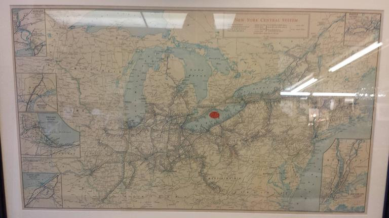 Framed New York Central Railway Map Original From 1943