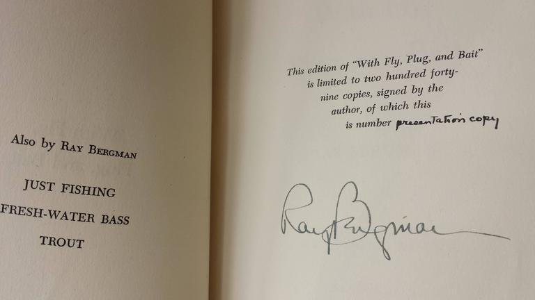 With Fly, Plug & Bait Signed Presentation Copy To Publisher Leather Bound Only One Copy Done for Publisher, Printed Presentation inside and pen signed from Author, includes envelope with 6-Full Color Plates, and in very nice condition. Size is 9