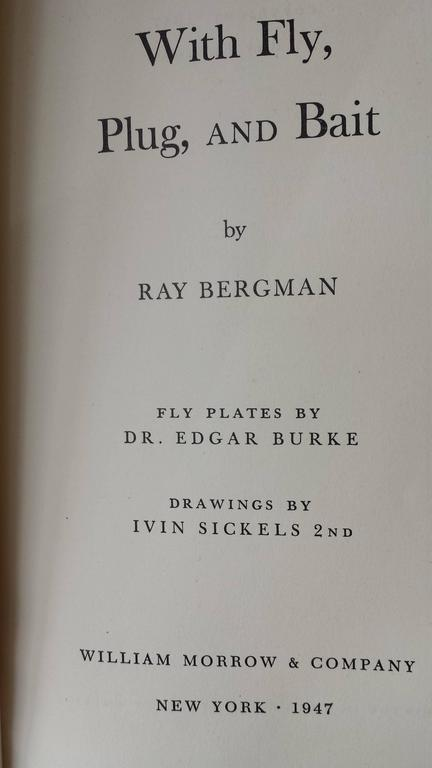 Mid-20th Century 'With Fly, Plug & Bait' Signed Presentation Copy to Publisher, Leather Bound For Sale