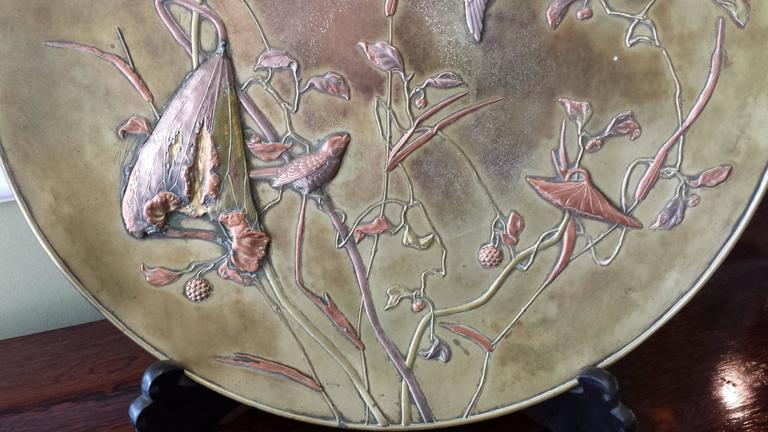 Large Patinated Bronze Japanese Mixed Metal Overlay Charger, Meiji Period In Good Condition For Sale In Ottawa, Ontario