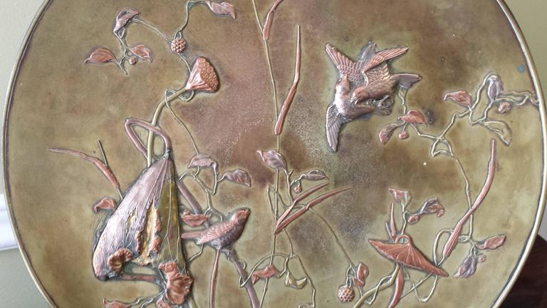 19th Century Large Patinated Bronze Japanese Mixed Metal Overlay Charger, Meiji Period For Sale