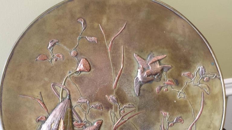 Large Patinated Bronze Japanese Mixed Metal Overlay Charger, Meiji Period For Sale 1