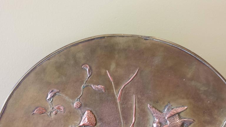 Large Patinated Bronze Japanese Mixed Metal Overlay Charger, Meiji Period For Sale 2
