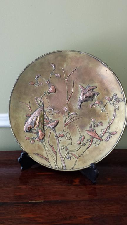 Large Patinated Bronze Japanese Mixed Metal Overlay Charger, Meiji Period For Sale 3