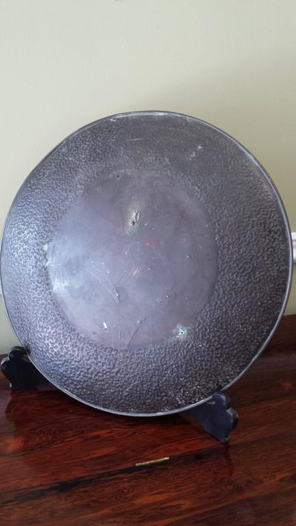 Large Patinated Bronze Japanese Mixed Metal Overlay Charger, Meiji Period For Sale 5