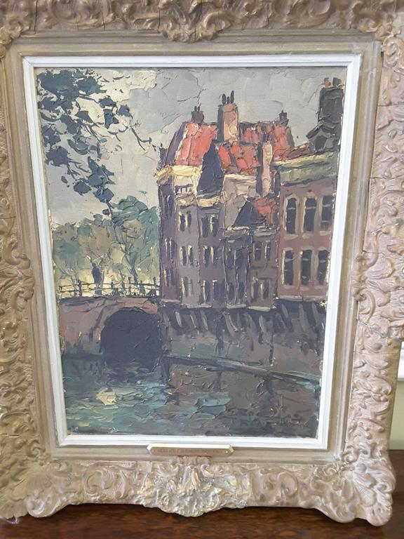 Grote Canvas Strandtas : Gerhard cohn roemers painting oil on canvas canal